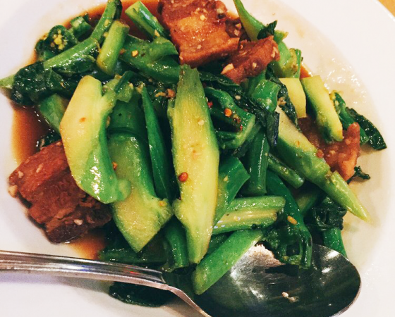 Crispy Pork Belly with Chinese Broccoli
